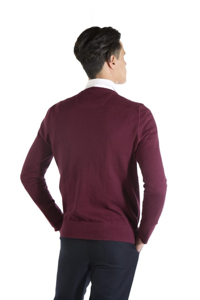 burgundy cotton sweater for man
